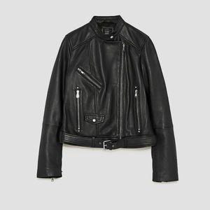 GORGEOUS NWT ZARA Leather Motorcycle Jacket Black